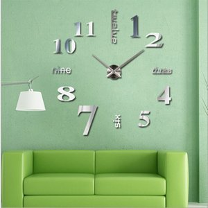 Wholesale- Happy home Living Room Bedroom Home Docerate Wall Clock Modern DIY Large Wall Clock 3D Mirror Surface Sticker Home Office Decor