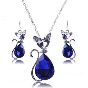 Women Blue Cute Jewelry Set Cats White Rhinestone Earrings Pendant Wedding Red Plating Necklaces Gold Crystal Black Jewelry Sets New Ar Wuap