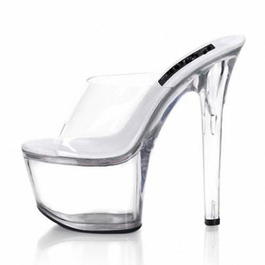 Customize Extreme High Heel 17cm Pumps 7cm Platform Pvc Sexy Fetish Shoes Peep Toe Women High Heel Model Slippers D0119