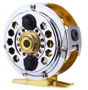 BF600 Portátil Mini Ouro Alumínio Corte Fly Fishing Vessel Carretéis de Disco Arrastar com Caixa De Varejo