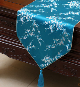 Luxus Kurz Länge Kirschblüten Tischläufer Fashion High End Silk Brocade Coffee Table Cloth Esstisch Pads Tischset 150 x 33 cm
