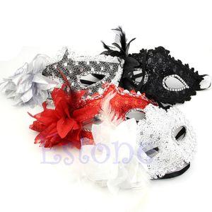 Nueva Llegada Sexy Venetian Lace Feather Ball Masquerade Máscara Paillette Flower Party Eye Máscaras