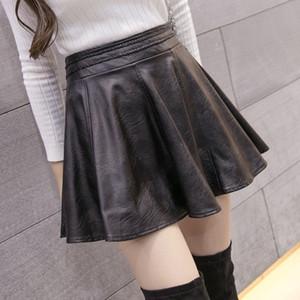 Venta al por mayor-Nueva moda de cuero de imitación de las mujeres Mini falda linda plisada A-line PU Primavera / Invierno / Verano Volver falda con cremallera 6XL más tamaño