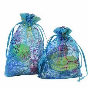Coralline Organza Cadeau Sacs Cordon Bijoux Emballage Pochettes Partie De Faveur De Mariage Sacs Conception Sheer Candy Bag avec Motif De Dorure 100pcs