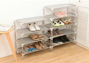Бесплатная доставка нетканые полки дисплея ботинка оцинкованную трубу обуви шкаф для хранения шкаф организатор собрать шкаф для обуви DIY обуви стойки