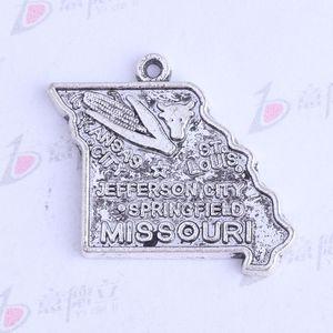 19.8 * 17.5mm antique silver / bronze MISSOURI JEFFERSON CITY milho irregular pingentes Encantos DIY jóias irregulares ajuste colares 3414
