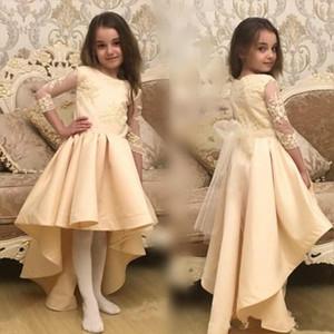 2017 Hi-lo Girl Pageant Dresses Jewel Neck кружева аппликация 3/4 иллюзия рукава мини-платья для вечеринок день рождения Dress на заказ дешевые