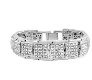 White Gold Finish Iced Out Micropave Rivet Bracelet For Men