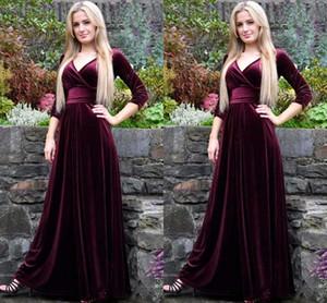 2018 бордовый бархат-line вечерние платья с рукавом 3/4 Сексуальная V-образным вырезом платье выпускного вечера элегантный на заказ платье особого случая