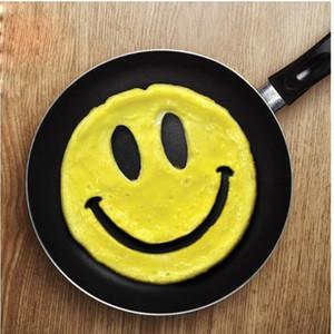 Moldes de tortilla de silicona lindo Emoji sonrisa forma de la cara del huevo frito molde Resuable para la cocina casera moldes de panqueque moda 2 8xy B