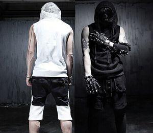 Großhandels- 2016 neue Arrivial koreanische kühle Sommer Gothic Tank Tops sleeveless Männer mit Kapuze schwarz weiß Slim Fit Rock Punk Kleidung