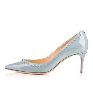 Женщины ручной Karmran мода Bnjalina 85мм высокая Шипы пятки отделаны остроносые вечерние туфли Z70519