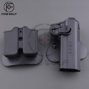 1911 Gun Holster Polymer Retention Roto Holster y funda de cargador doble para 1911 Style Airsoft Tactical