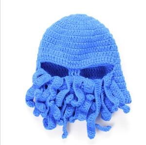Komik Crochet Hat Tentacle Ahtapot Cthulhu Örgü Bere Şapka Cap Rüzgar Kayak Kış Şapka Erkek Şapka Moda Şapka Noel Hediye Maske Caps