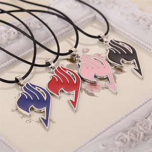 Wholesale-Fairy Tail necklace guild logo tattoo pendant Anime fashion jewelry leather rope for men and women wholesale