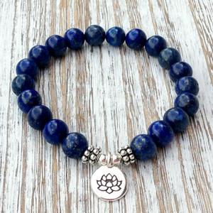 SN1039 Genuine Lapis Lazuli Pulseira Pedra Natural Bead Men `s Pulseira Garganta Chakra Yogi Espiritual Presente Frete Grátis
