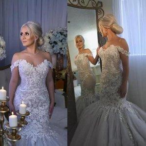 País de luxo Fora Do Ombro Sereia Vestidos de Casamento 2018 New Lace Apliques De Cristal Vestidos De Noiva Tulle Praia Do Vintage Desgaste Do Casamento