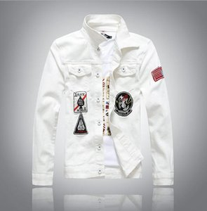 Wholesale- High quality New white Men's Denim Jacket fashion Jeans Jackets casual streetwear Vintage Mens jean clothing