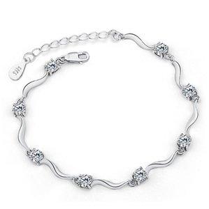 HYWo Exquisite Con estilo exquisito estilo minimalista 925 plata esterlina Austria circón pulsera de cristal para las mujeres Regalos