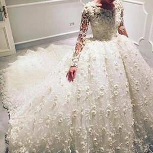 Luxury Wedding Ball Gowns Chapel Train Sheer Crew Neckline Lace Handmade Flowers 3D-Floral Appliques Over Skirts Long Sleeve Wedding Dress