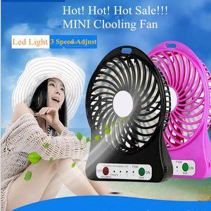 Mini Protable Fan Multifuncional USB Recarregável Crianças Mesa de Ventilador LED Light 18650 Bateria Ajustável 3 Velocidade Mini USB Ventilador de Refrigeração Atacado