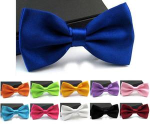 2016 Hombres Classic Tuxedo Satén Color sólido Ajustable Wedding Party Bowtie Bow Tie Novio Bowknot Hombres Corbatas Decoraciones de la boda