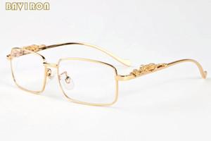 상자 2019 패션 선글라스 금 은색 합금 금속 표범 프레임 남성 여성 버팔로 뿔 안경 맑은 렌즈 태양 안경