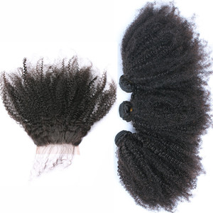 Brazilian Afro Kinky Curly 4*4 Lace Frontal Closure With Hair Bundles 4Pcs Afro Curly Virgin Hair With Lace Closure Free Shipping 5Pcs Lot