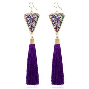 Orecchini lunghi nappa Boho Bohemian lungo lucido triangolo di cristallo nappa orecchini pendenti per le donne regalo del partito all'ingrosso