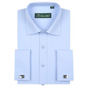 도매 -2016 남자 긴 소매 프렌치 커프 솔리드 드레스 셔츠 확산 칼라 코튼 블렌드 클래식 맞는 턱시도 셔츠 (커프스 단추 포함)