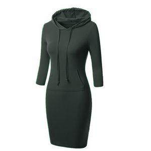 European Foreign Trade Original Single New Muster Herbst Pullover Long Fund Anzug-Kleid Selbst Mitternacht loses Mantel-Kleid
