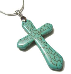 10 unids / lote turquesa cruz colgante encantos collares para diy joyería de moda colgante regalo envío gratis t46 *
