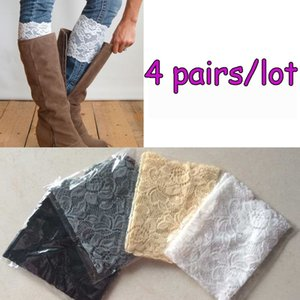 Al por mayor-4 Pares / Lot Stretch Lace Flower Leg Warmers Trim Toppers Boot Calcetines Cuffs Hot envío gratis