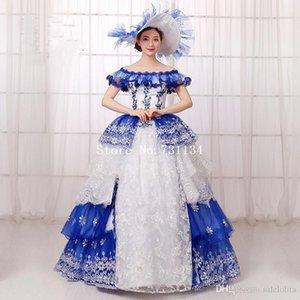 2016 Blue Print Off The Hombro Southern Belle Ball vestido Queen Princess Marie Antonieta Rococó vestido victoriano Vestido de baile