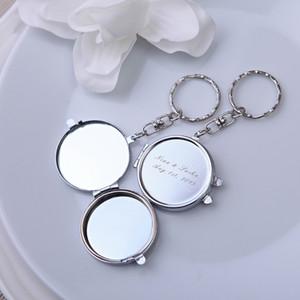50 Pçs / lote Prata Personalizado Espelho Favor de Espelho Com Nome Data Personalizado Favor e Presentes De Casamento Regalo de boda para os invitados