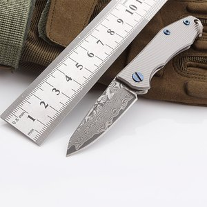 K8069 DAMASCUS Folding Knife With Titanium Handle Mini Outdoor Folding Knife Sharp High Hardness Damascus Pocket Knife With Gray Handle