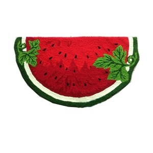 Watermelon Shaped Hand Hooked Mat Living Door Mats, New Fashion Embroidered Porch Doormat Floor Karpet Kitchen Rugs Gift