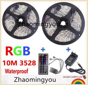 2 * 5M 10M RGB LED 스트립 빛 3528 SMD 방수 유연한 빛 60LED / M 원격 컨트롤러와 DC 12V 전원 공급 장치 어댑터