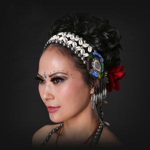 2017 ATS Tribal Bauchtanz Zubehör Frauen Kopfschmuck Dance Stirnbänder Bellydance Quaste Zigeuner Tanz Tribal Stirnband