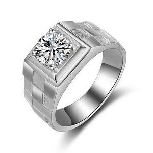 Vecalon مذهلة الأزياء والمجوهرات اليدوية خاتم الزواج للرجال 1ct تشيكوسلوفاكيا الماس 925 فضة الذكور الاشتباك البنصر هدية