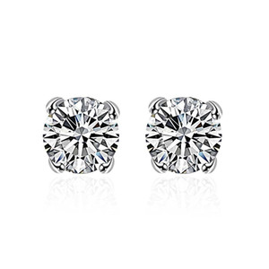 Moda Kristal Zirkon Damızlık Küpe 925 Gümüş Kaplama Rhinestone Takı Yanıp Sönen Mini Narin Küpe Kadınlar için Küpe Doğum Günü Hediyesi