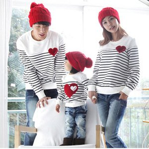 Wholesale-2016 Family fashion Spring/Autumn family pack cotton set mom/dad/child clothes, mom and daughter striped long-sleeve T-shirt F2