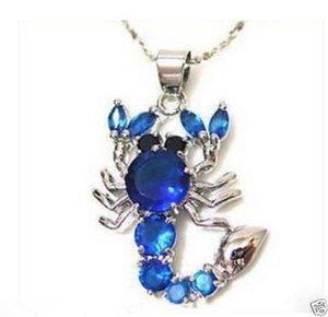 Jewelry blue crystal Scorpion Necklace Pendant