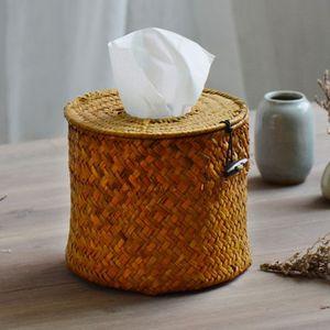 Al por mayor- ¡NUEVO! Estilo rural Ronda Naturaleza Straw Dining Table Napkin Holder Box Caja de papel Environment_friendly Caja de almacenamiento ¡Caliente!