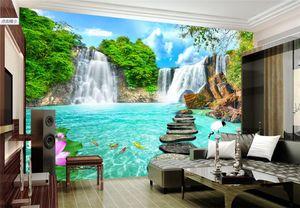 papel de parede пользовательские фото обои фреска обои гостиная пейзаж водопад 3D фреска пейзаж стены