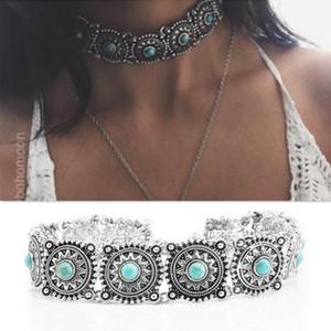 Modeschmuck, personalisierte Mode, Retro-Folk-Stil übertrieben Halskette, Türkis Halskette Scheibe