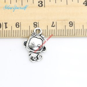 20 pcs / lot Antique Argent Plaqué Petit Singe Charmes Pendentifs pour Collier Fabrication de Bijoux DIY Artisanat À La Main 20x14mm