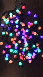 سلاسل الإضاءة 10M100 المصابيح أضواء الكرز الكرة الجنية LED الجهد المنخفض الظلام الأخضر خط النجوم الباحة أضواء سلسلة للديكور في الهواء الطلق