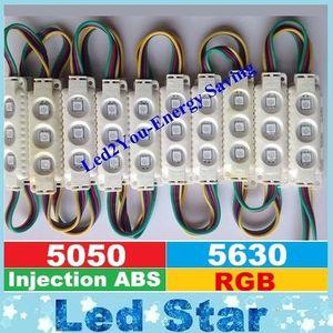RGB conduziu os módulos branco / preto Shell impermeável IP65 3LEDs 5050 injeção ABS plástico 1.5W conduziu a luz da montra 160 ângulo