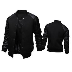 멋진 대학 야구 재킷 남자 패션 디자인 블랙 푸드 가죽 슬리브 남성 슬림 피트 반소매 재킷 브랜드 Veste Homme